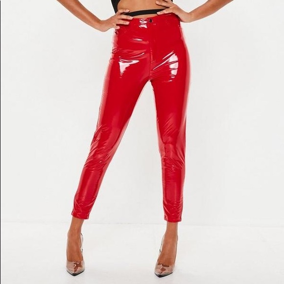 8f67be1e5d1846 Missguided Pants | Hot Red Vinyl | Poshmark